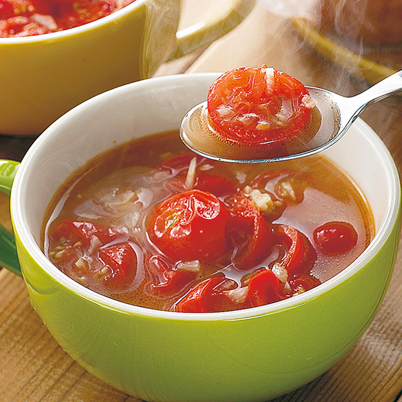 炒めミニとまとのガーリックスープ
