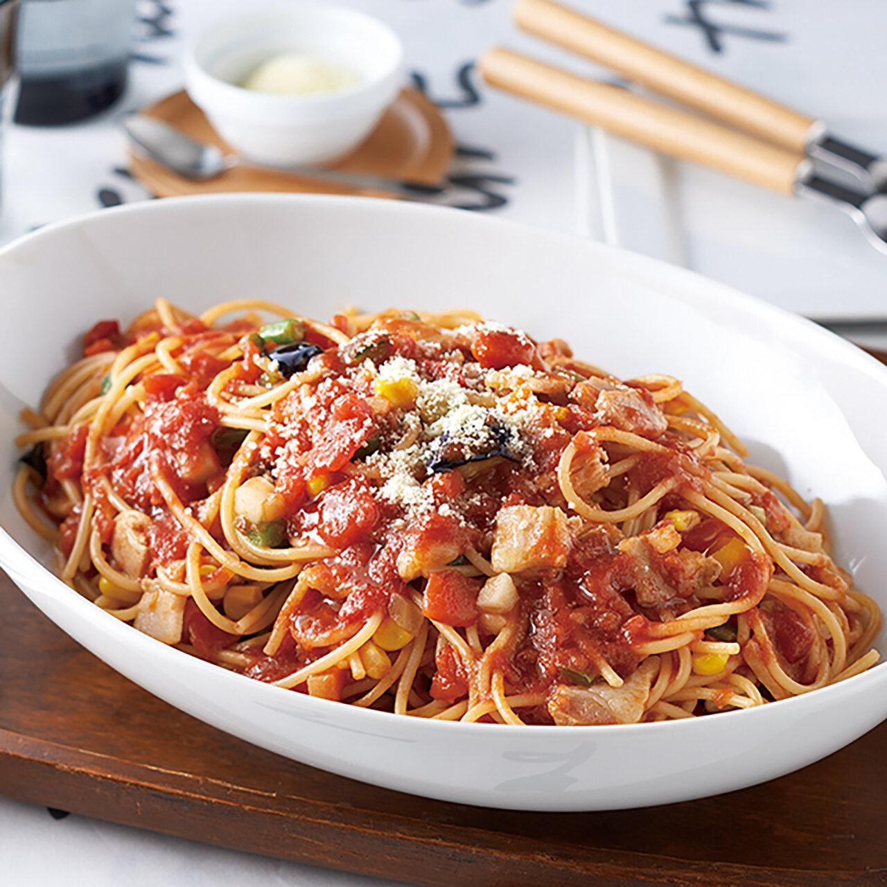 別ゆでなし!彩り野菜のトマトパスタ