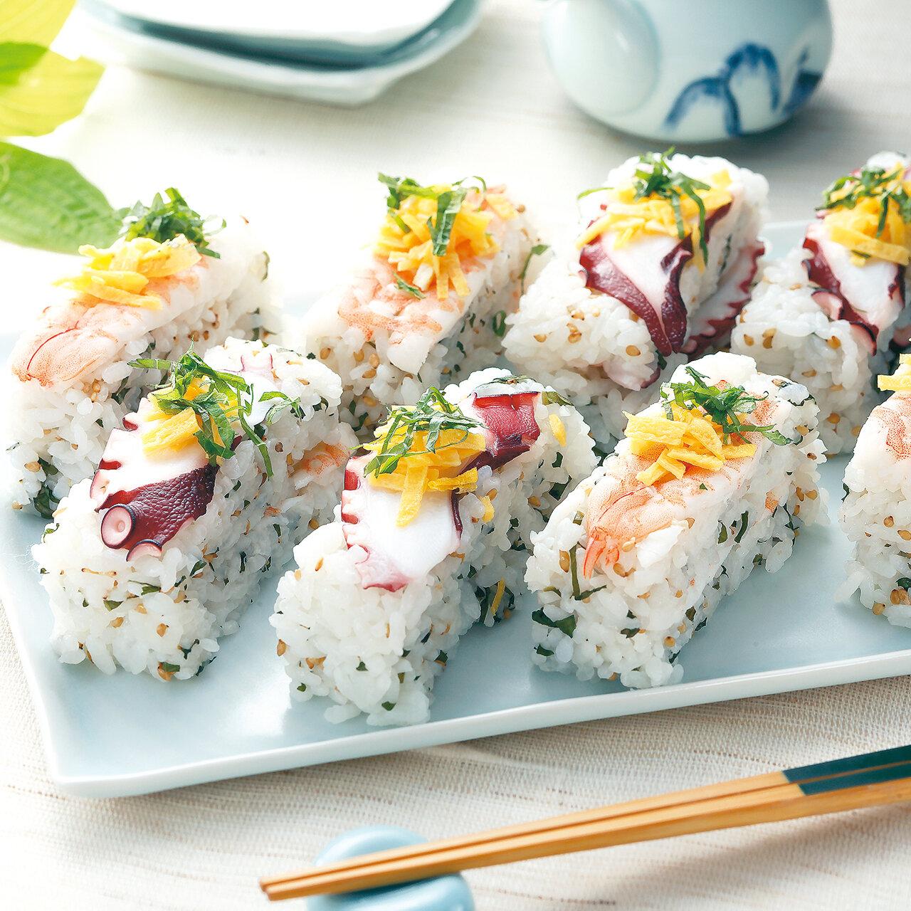 梅酢たことサラダえびの押し寿司