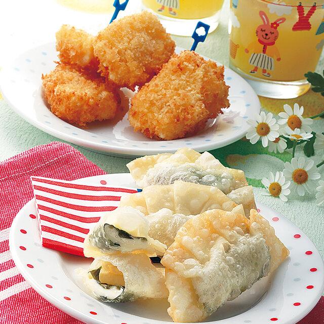 餃子の皮包み揚げとチーズフライ