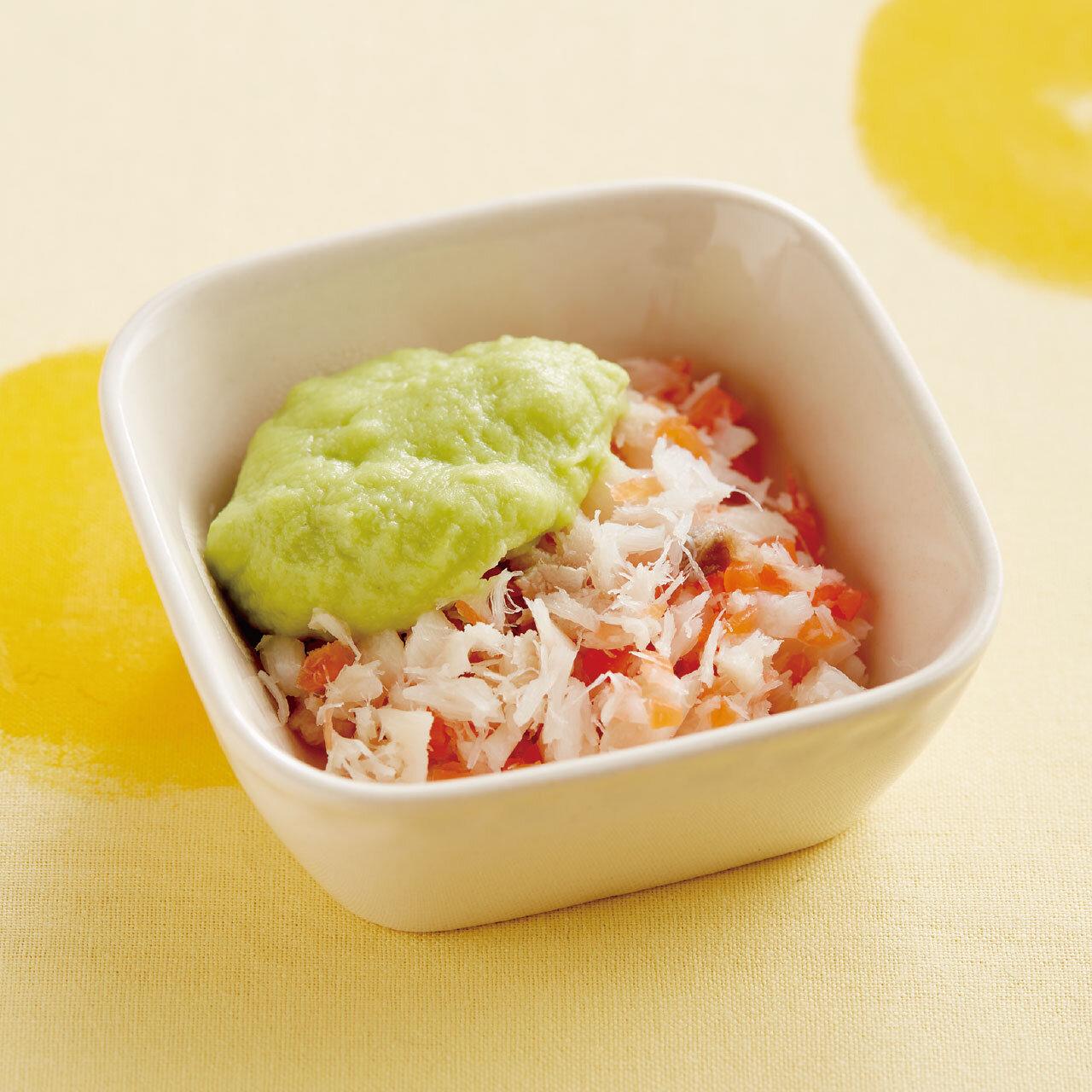 白身魚の枝豆ソース添え