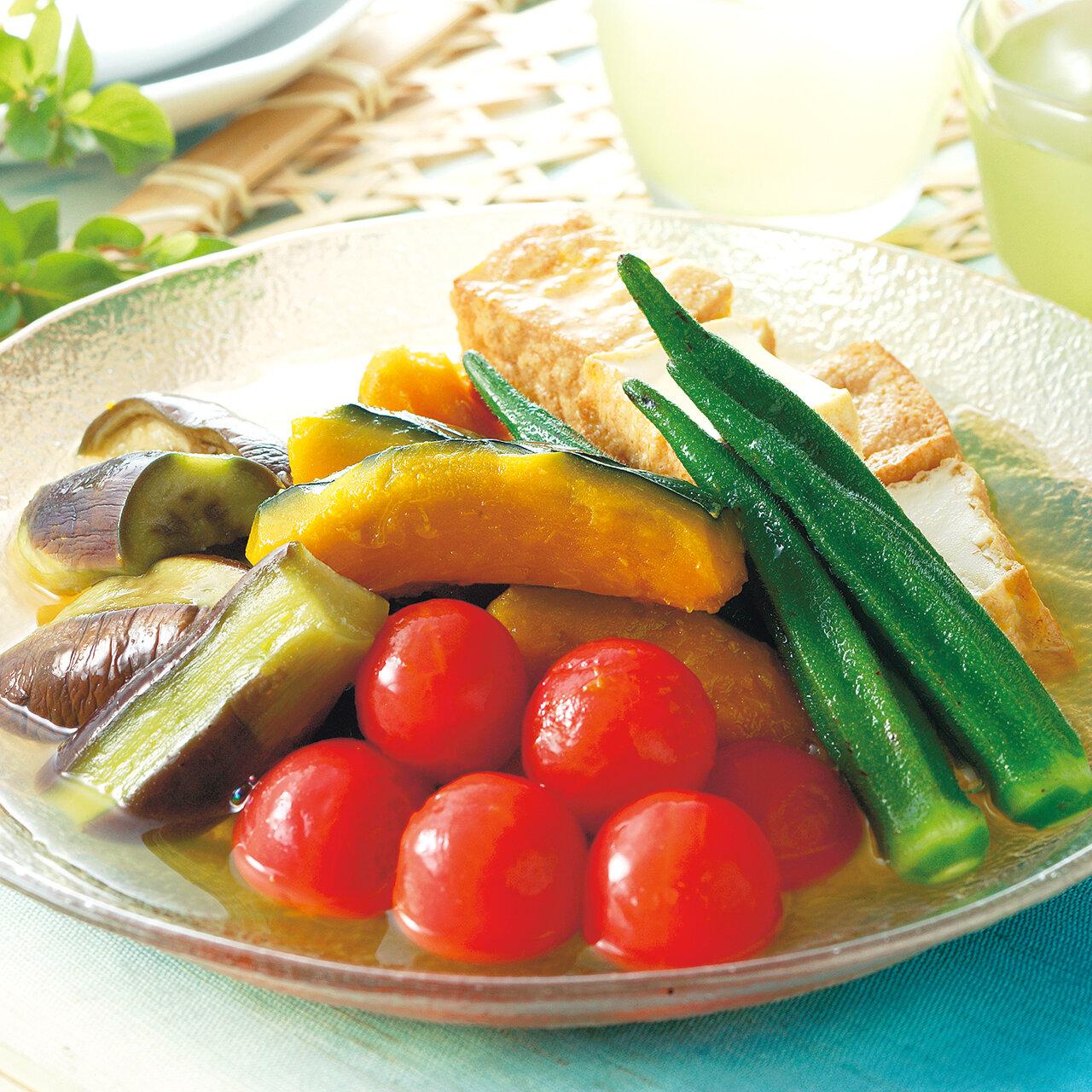 白だしで夏野菜の冷たい煮物
