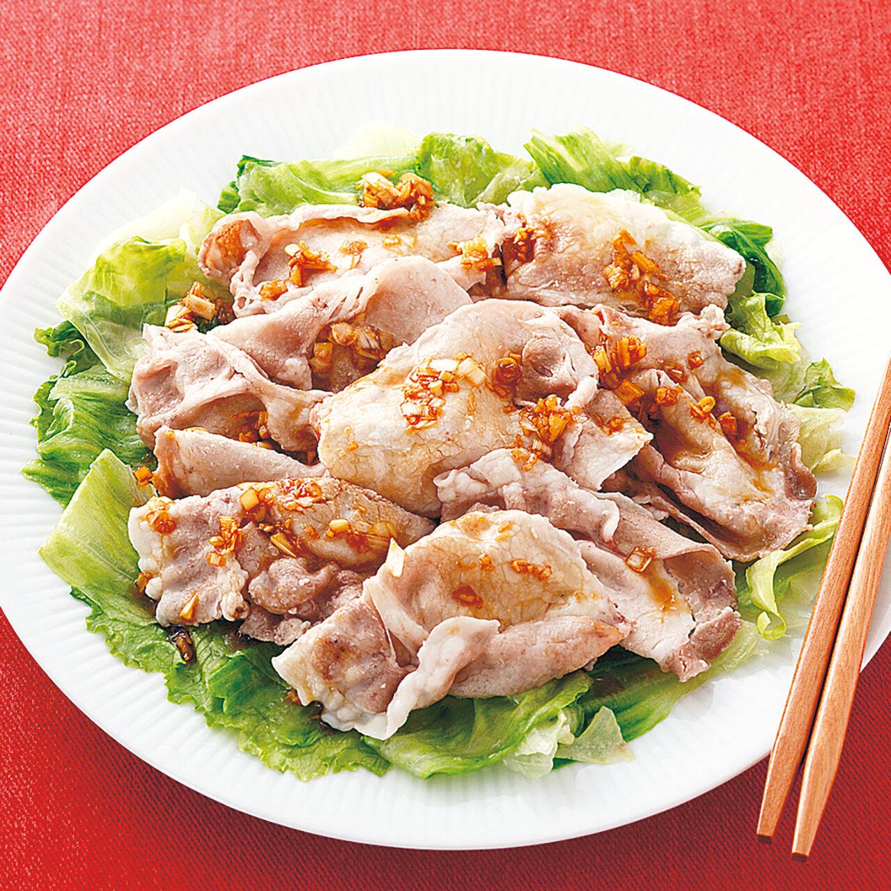 豚肉とレタスの中華蒸し