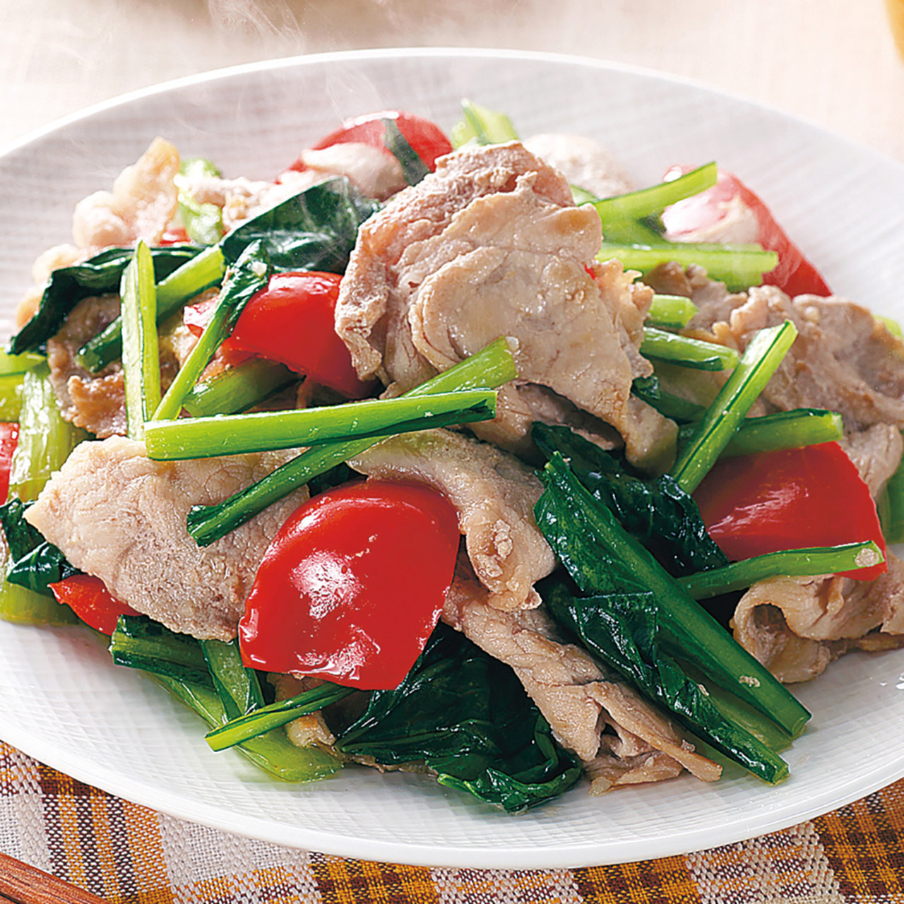 豚肉と小松菜のガーリック炒め