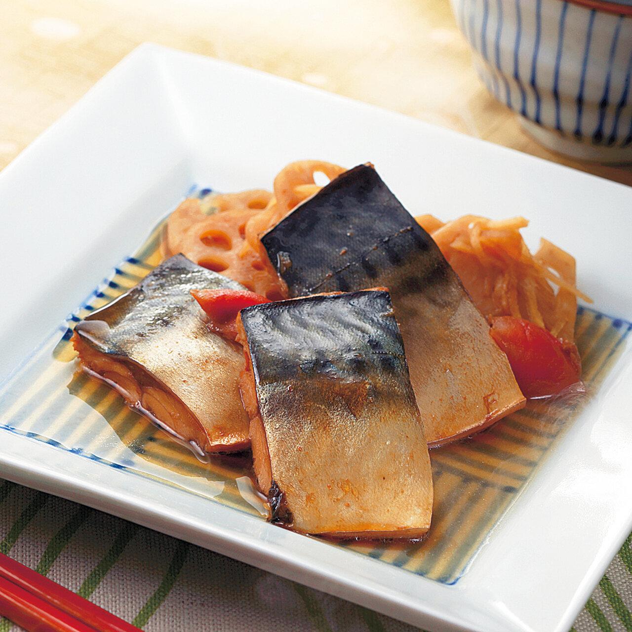 鯖とれんこんの梅干煮