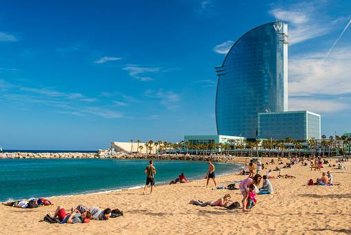 Barceloneta beach with W Ba...