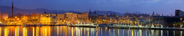 Port of Barcelona in dawn. ...