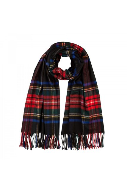 Cashmere Tartan Stole In Black Stewart - fine cashmere clothing, accessories and knitwear (3507)