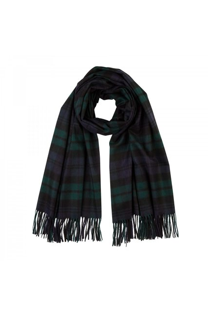 Cashmere Tartan Stole In Black Watch - fine cashmere clothing, accessories and knitwear (3508)