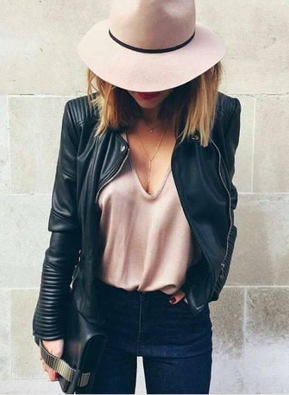 Blush leather. - http://amzn.to/2gxKjAk | Pink | Pinterest | インスピレーション、黒のレザージャケット、黒のレザー (14389)