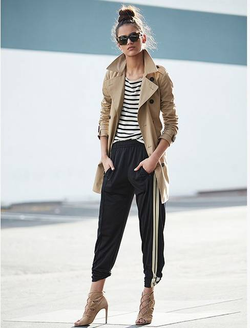 Striped Track Pants & Trench | Athleisure Style | Stripes | Pinterest | トラック、ジャケット、パンツ (15968)