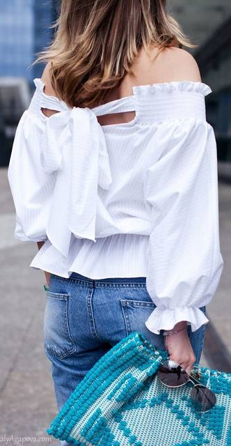 White Back Bowknot Tie Pinstriped Off The Shoulder Blouse #Women   Fashion   Pinterest   かわいい夏服コーデのアイデア、ファッションコーデのアイデア、レディースファッション (19234)