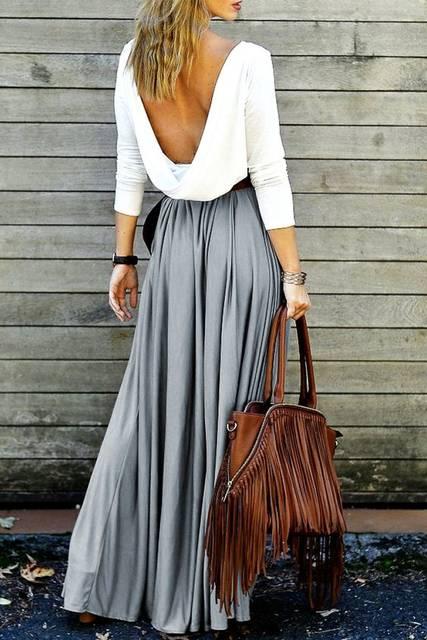Long Sleeve Maxi Draped Open Back Casual Flowy Club Dress - Gray | スリーブ、マキシスカート、リハーサルディナー (26076)