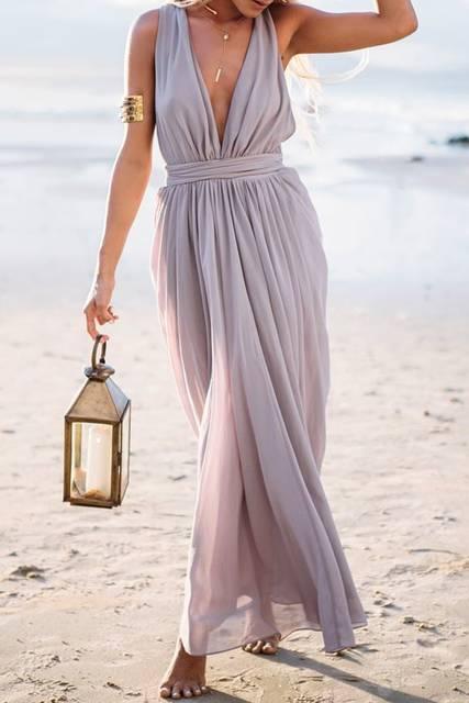 Plunging Neck Solid Color Maxi Dress | パステル、かわいい夏服コーデのアイデア、マキシドレス (28868)