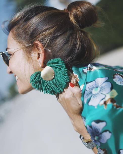 $20 - $50 Amazing Oversized Gorgeous Turquoise Blue Green Tassel Detail Gold Dangle Earrings Jewellery Accessory Summer Trends | accessories | Pinterest | タッセル… (29298)