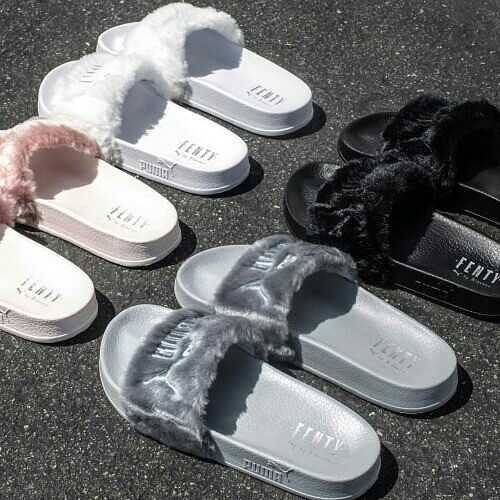 Rihannas Fenty Fur Slides Pink Black White and Grey | kickin it | Pinterest | スタイル、Instagram、毛皮 (29441)
