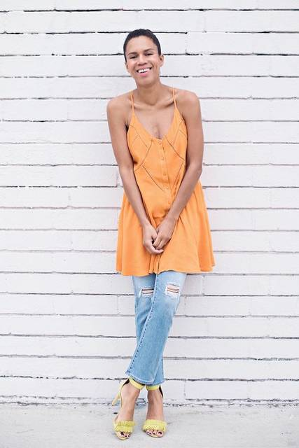 pops of color » STYLE ME GRASIE. Orange long top+distressed jeans+yellow ankle strap heeled sandals. Summer outfit 2016 | Summer Outfits 2016 | Pinterest | アンク… (29453)
