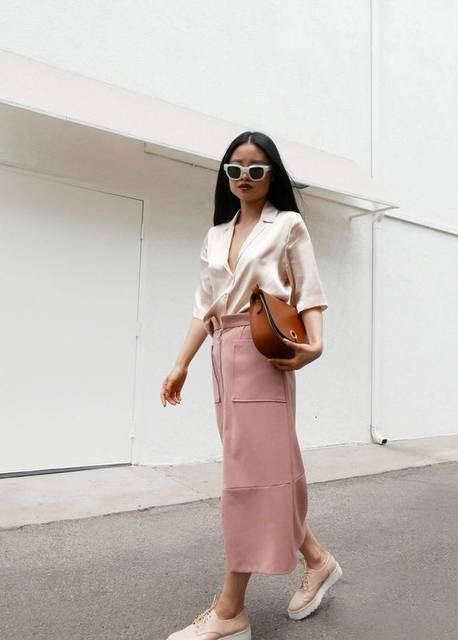Neutrals, pink maxi skirt, pink shoes and blouse, white sunglasses, street style, fashion blogger, style blog, ootd | street style | Pinterest (36348)