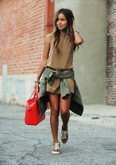 Olive Jacket Brown Dress Leopard Sneakers Tennis Shoes Casual Summer | Fashion | Pinterest | カジュアル、ジャケット、かわいい夏服コーデのアイデア (36411)
