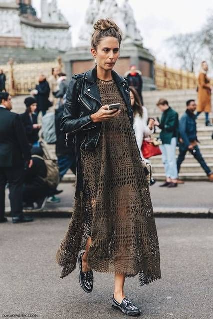 LFW-London_Fashion_Week_Fall_16-Street_Style-Collage_Vintage-Khaki_Dress-Biker-Studded-loafers-1 | Fashion | Pinterest (36448)