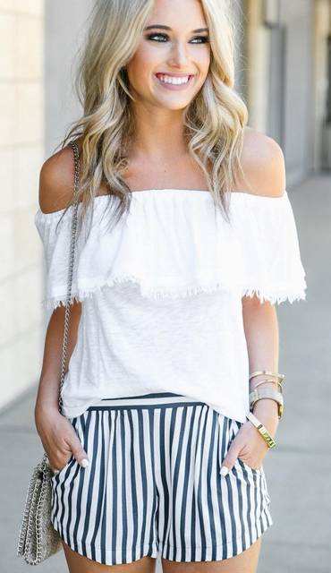 Off the shoulder white ruffled casual top worn with vertically striped loose mid-rise short shorts. Two front pockets, navy and white stripes. Chai… | Pinterest (36751)