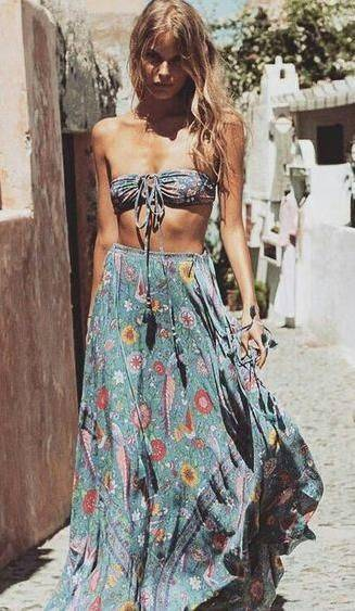 floral maxi skirt. boho street chic. | Fashion | Pinterest | 水着 と ファッションアイデア (37244)