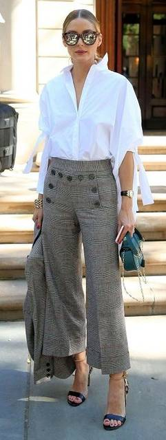 5 Looks to Transition Your Outfit for Spring Temps, glen plaid wide leg pants with white button down shirt and green purse, women's spring fashion|… | Pinterest (37363)