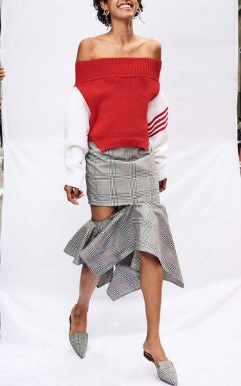 Monse R18 - Upside Down Cropped Knit €912, Glen Plaid Zip Trumpet Skirt €954, Glen Plaid Mule €846 | Fashion | Pinterest (37398)
