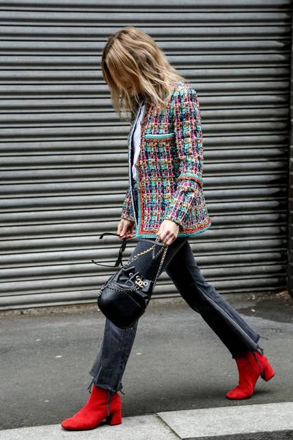 Red boots, tweed jacket, Chanel bucket bag. | Fashion | Pinterest (41351)