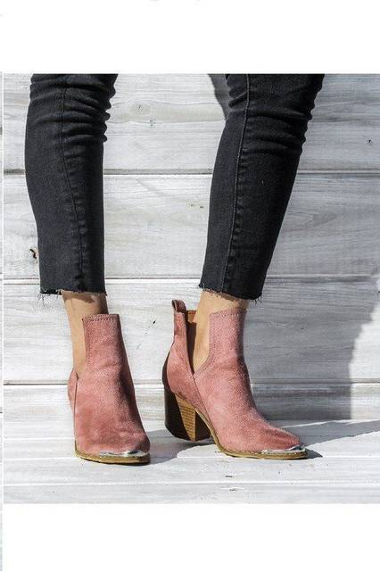 Boho chic rose faux suede booties with silver toe detail | →Shoe Obsession | Pinterest (41372)
