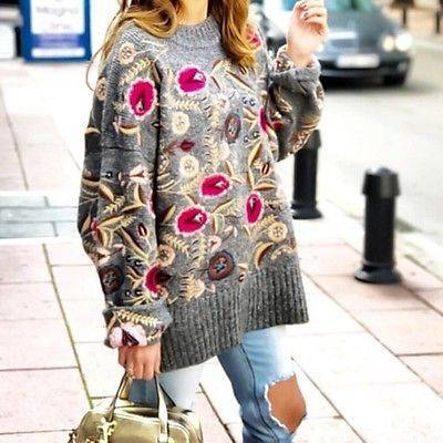 Zara floral embroidered sweater | Fashion Land Knits & Crochet | Pinterest | ヴィンテージフラワー と ニット (41432)