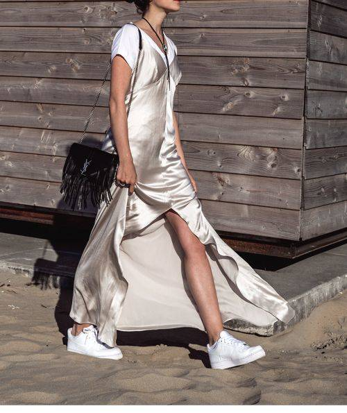 White t-shirt, gold silk slip dress & white trainers | @styleminimalism | F A S H I O N : BLACK  |  WHITE  |  GREY | Pinterest | ファッションアイデア (41456)