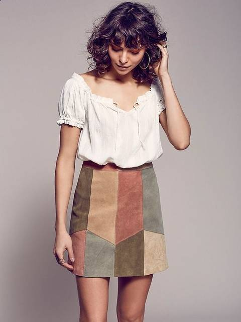 This Could Be Us Patchwork Mini | Luxe suede mini skirt features a multi-colored patchwork detailing. Hidden hook and zip closure in back. Lined. | Pinterest |… (45472)