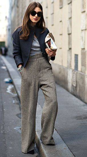กางเกงขาบานสีเทา, เสื้อสีเทา, เสื้อคลุมสีน้ำเงิน   fashion   Pinterest (46160)