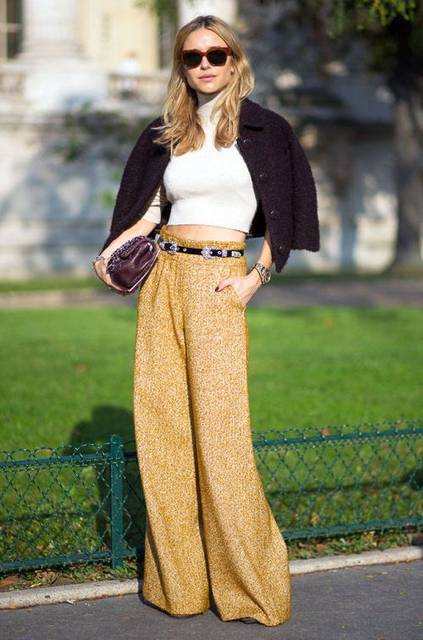 Trending Street Style at Spring Summer 2015PFW Fashion Week: High-waisted Pants.   It's Trending!   Pinterest (46163)