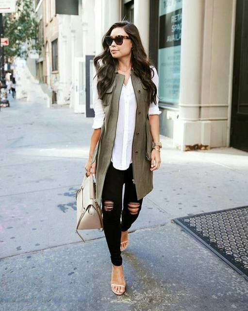 Layered outfit | Long khaki green vest, white blouse and nude accessories | Styles That I Love | Pinterest (46238)