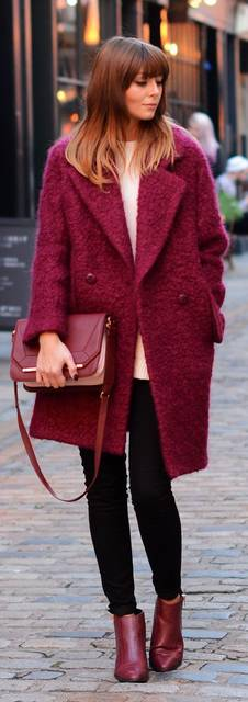 Bordeaux fuzzy Coat | OOTD Outfits for Fall | Ruh叩k - h辿tk旦znapik 辿s sportosak | Pinterest (47324)