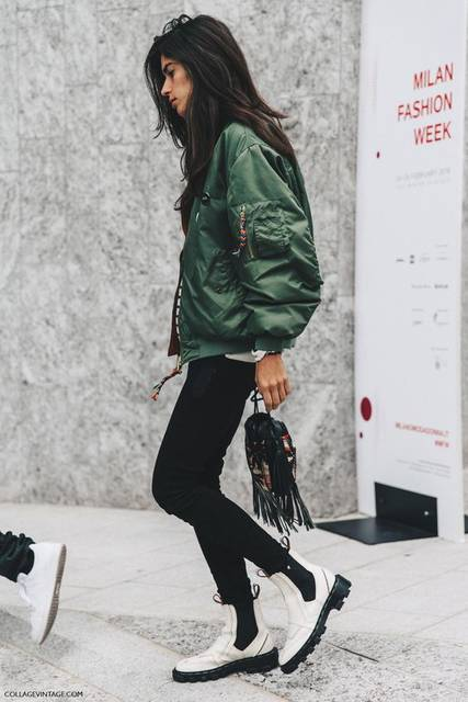 Milan_Fashion_Week_Fall_16-MFW-Street_Style-Collage_Vintage-Bomber-Chiara_Totire-Balenciaga-Boots- | What A Style! | Pinterest | ファッションコーデ、ボンバージャケット、ファッションコーデの… (48356)