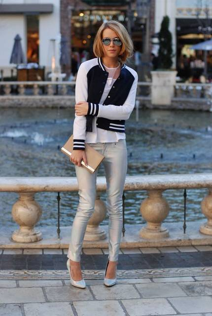 varsity jacket, cuffed distressed jeans, black platforms & red satchel | Spring into Summer Casual Friday | Pinterest | スタジャン ファッション と ファッション (48367)