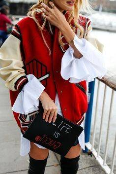 jacket tumblr red jacket baseball jacket teddy jacket bomber jacket bag pouch printed pouch customized quote on it shirt white shirt | Fashion | Pinterest (48372)