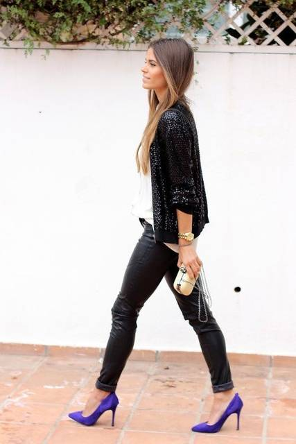 Leather pants, sequins blouse and purple heels | Fashion! | Pinterest (48460)