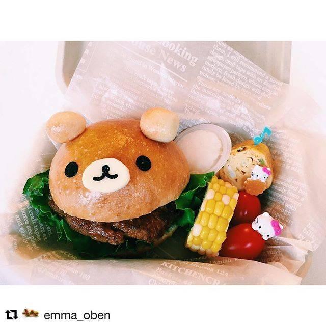 shokoさんはInstagramを利用しています:「#Repost @emma_oben (@get_repost) ・・・ 2017.8.9 ▽▽▽リラックマバーガー🍔▽▽▽ 8月1日は、8月生まれのお誕生日会で登園日でした! その日はお弁当がいるとの事で、エマリクエストのハンバーガーを🍔…」 (55927)