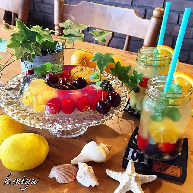 miyukiさんはInstagramを利用しています:「2016.07.11 * * * おはようございます☻ * * * フルーツビネガーウォーターを作りました🍹 * *  これは リンゴ酢とハチミツと水で出来るビネガーウォーターです * *  そして その出来たフルーツビネガーウォーターを使って リングゼリーも作ってみました😊…」 (57405)