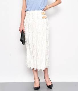 フリンジジャガードタイトスカート。フリンジデザインが印...