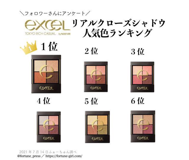 """excel『リアルクローズシャドウ』人気ランキング♡""""使いやすい・肌馴染み良い""""第1位はどのカラー?"""