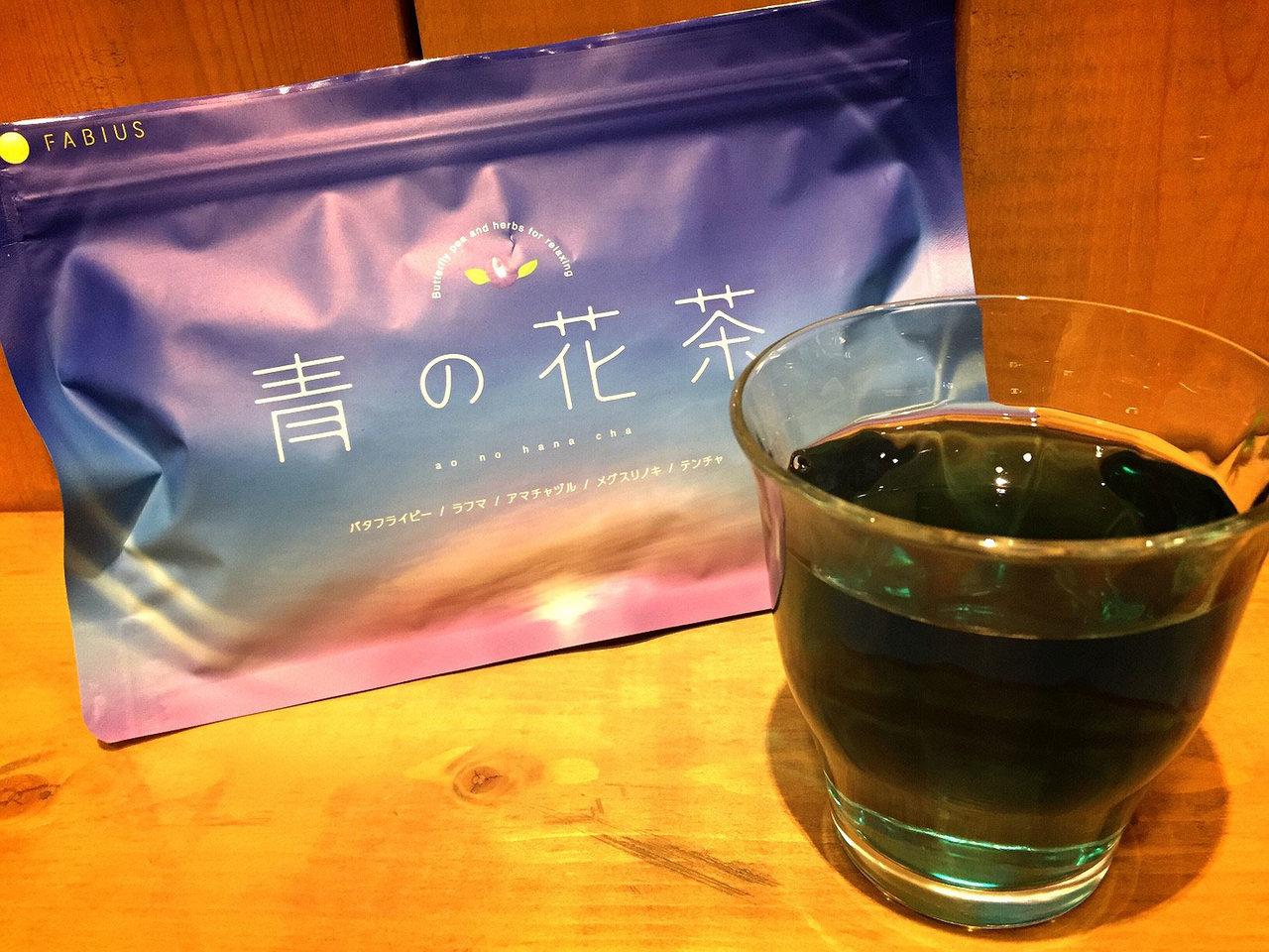 青の花茶の画像