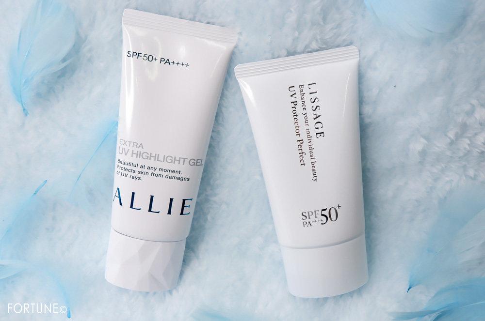 カネボウ化粧品 ALLIE(アリィー)「アリィー エクストラUV ハイライトジェル」・LISSAGE(リサージ)「リサージ UVプロテクターパーフェクト」