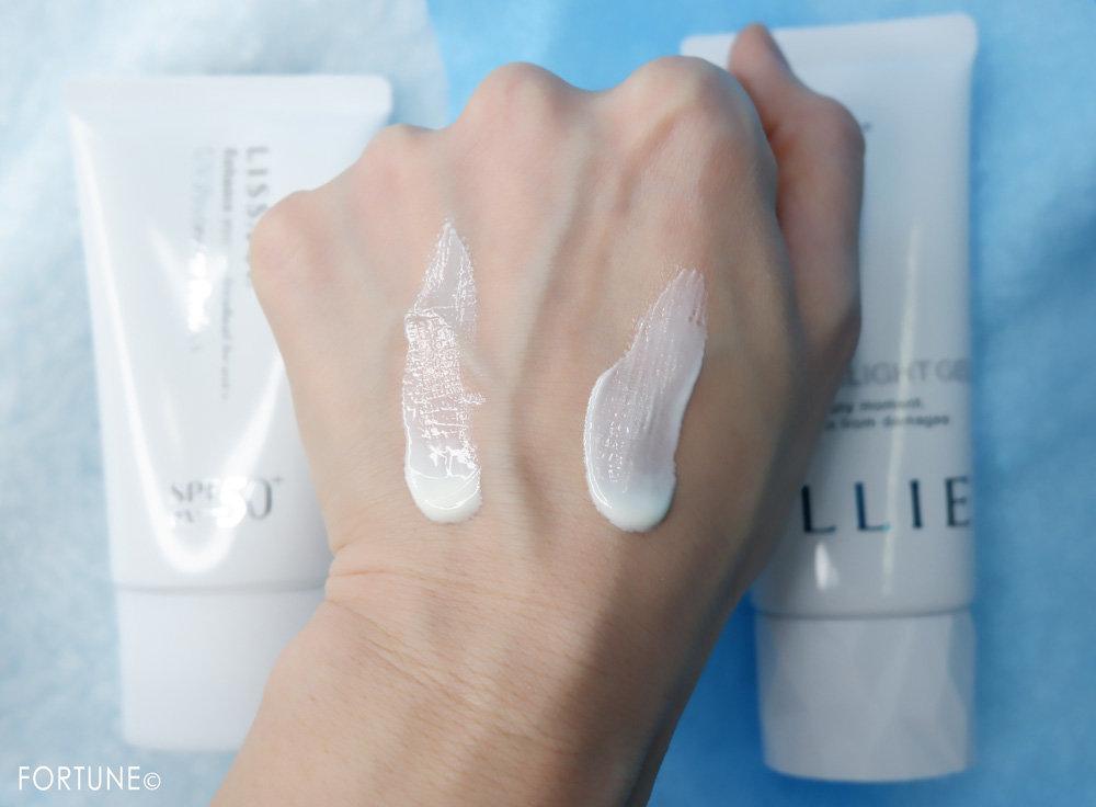 カネボウ化粧品 ALLIE(アリィー)「アリィー エクストラUV ハイライトジェル」・LISSAGE(リサージ)「リサージ UVプロテクターパーフェクト」テクスチャー