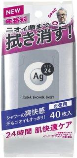 エージーデオ24 クリアシャワーシート 無香料 40枚 | デオドラント (365099)