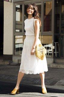 IEDIT アンティークテイストのレース素材ギャザースカート〈ホワイト〉|フェリシモ (377463)